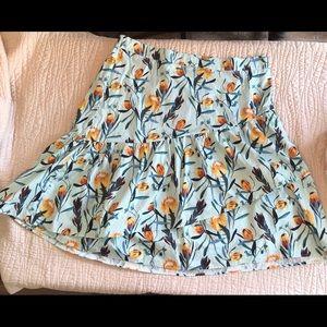 Asymmetrical Ruffle midi skirt tropical floral 3X